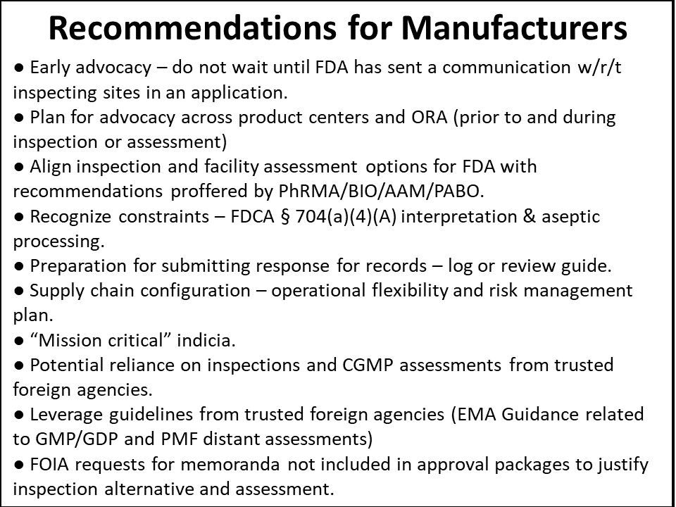 Figure 5 Recommendations for Manufacturers