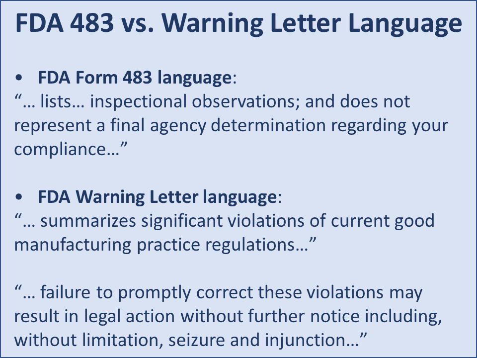 FIGURE 1 | Warning Letter versus 483 Language